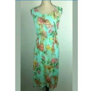 Speed Control Green Floral High Low Dress 1X